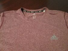 Adidas Men's Polyester Clima Lite S/S Crew Neck Maroon Athletic T Shirt L LARGE