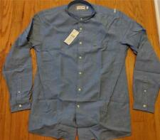 Mens Authentic Lacoste LS Chambray Band Collar Button Up Shirt Blue 44 XL Slim