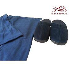 Body Blanket + Slippers Set Adult Sleeves Pocket Fleece Wrap Christmas Gift -Blu