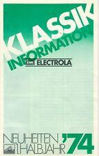 Klassik Information - Broschüre Katalog Neuheiten 1974 Electrola LP - B21625