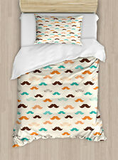 Indie Twin Size Duvet Cover Set Retro Mustache Pattern with 1 Pillow Sham
