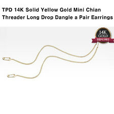 TPD Solid 14K Yellow Gold Mini Chain Threader Long Drop Dangle a Pair Earrings