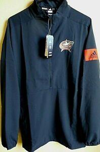 NHL Adidas Columbus Blue Jackets Hockey GameMode 1/4-Zip Pullover XL NWT EB6614