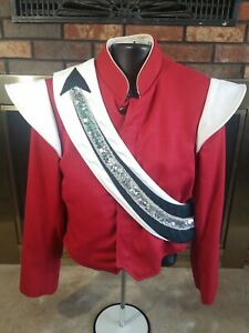 Vintage Stanbury Marching Band Uniform Beret Red Black Silver Size 38R Sequin