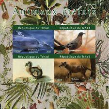 More details for chad birds on stamps 2021 mnh extinct animals dodo thylacine pigeons 4v impf m/s