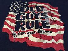 Old Guys Rule Medium Mens  Graphic T-Shirt A Life Well Served American Flag