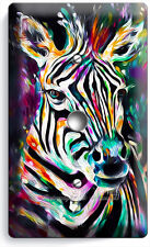 COLORFUL ZEBRA LIGHT DIMMER VIDEO CABLE WALL PLATE COVER ART STUDIO ROOM DECOR