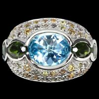 Oval Sky Blue Topaz 10x8mm Chrome Diopside Sapphire 925 Sterling Silver Ring 7