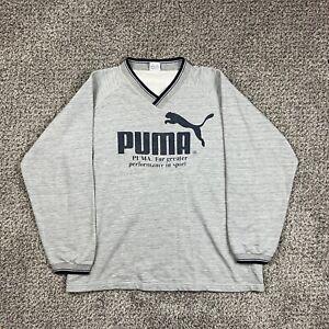 Vintage Puma V Neck Heather Grey Sweatshirt Big Logo Double Sided L/XL USA Made