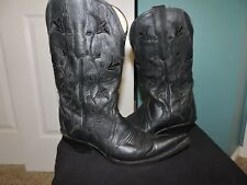 Womens Vintage Black Embroidered Leather Rudel Pointed Toe Cowboy Boots Sz 4.5 E