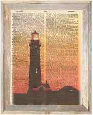 Lighthouse at Dusk Evening Altered Art Print Upcycled Vintage Dictionary Page