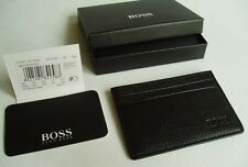 HUGO BOSS '50179306' 'BRADENTON' GRAINED PEBBLED LEATHER CARD HOLDER BOSS BLACK