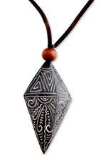 Bone Pendant Necklace on Cord Handmade Indonesian 'Sunset' NOVICA Bali