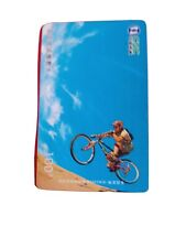 Chinese Extreme sports phonecard. Cycling down steep incline. In good condition.