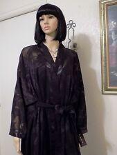 NATORI vintage NWT Montaldo's Polyester BLACK SHEER PEIGNOIR SET L large