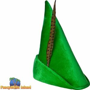 Deluxe Fairytale Peter Pan Hat Feather Mens Fancy Dress Costume Accessory