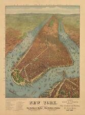 MAP AERIAL BIRDS EYE NEW YORK CITY 1879 COLOUR LARGE ART PRINT POSTER LF2511
