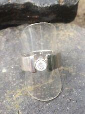 Ring Bandring mit Zirkon Solitär Silber 925 massiv Gr. 56 / 17,8 mm