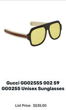 Gucci GG0255S 002 oversized yellow lens sunglasses in black & beige & logo sides