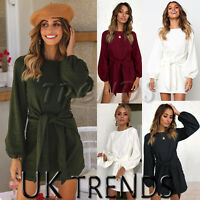 UK Womens Tie Front Ladies Long Bell Sleeves Christmas Party Evening Mini Dress