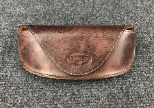 FOSSIL Leather Sunglasses Case Eye Glasses Brown Magnetic
