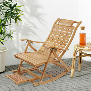 Ergonomic Recliner Rocking Chair Outdoor Sun Lounger Chair 2 In 1 Relaxing Seat