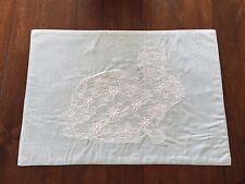 RABBIT LACE FLOWER PEARL 4pc Placemats EMBROIDERED Teal Metallic EASTER NWT