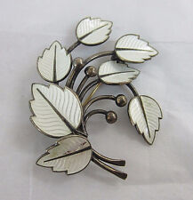 Sterling Silver Jemax Denmark Spray Leaves Guilloche White Pin - Free Shipping *