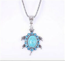 Vintage Tibetan Silver Blue Crystal Oval Turquoise Inlay Pendant Chain Necklace