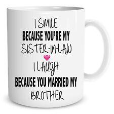Funny Novelty Mugs Sister In Law Joke Cups Brother Family Ceramic Gift WSDMUG665