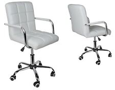 Modern Office White Leather Chair Hydraulic Swivel Executive Computer Desk Task