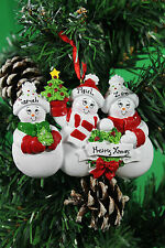 PERSONALISED CHRISTMAS TREE DECORATION ORNAMENT  SNOW  FAMILY OF 3