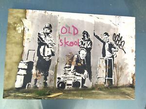GRAFFITI BANKSY / TABLEAU SUR TOILE: OLD SKOOL / Street Art Urbain / 60 X 40 cm