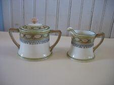 Hand Painted Nippon Cream &Sugar Bowl W Lid Morimura Bros 1914-1940 Arts Crafts