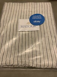 Matouk Euro European Sham Corded Edge 100% Linen White Striped Black Tristen