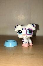 Littlest Pet Shop LPS White Polka Dot Jack Russel Terrier Dog & Blue Bowl 2306