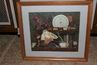 """Rare Charles Wysocki Colored Litograph Print """"Casey the Conducter"""""""