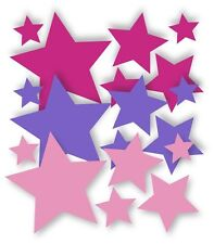 18Sterne Aufkleber Mix Rosa/Pink/Lavendel Wandtattoo Kinderzimmer Fensterdeko