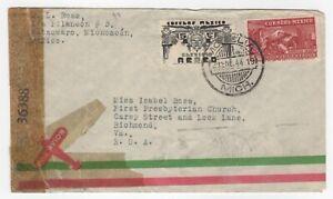 1944 Jan 29th. Censored Air Mail Cover. Pátzcuaro to Richmond, Virginia.