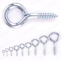 100 x METAL SCREW EYES 35mm Washing Line Picture Wire Hanging Hoop Loop Hook UK