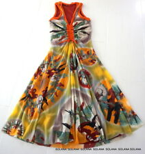 FUZZI Sleeveles Multi-color Dress Drawstring Front Design sz Small