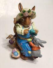 Easter Bunny Rabbit Porcelain Keepsake Hinged Box Rocking Chair Mom Baby Sewing