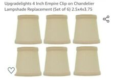 4 Inch Empire Clip on Chandelier Lampshade Replacement (Set of 6) (Beige, Brown)