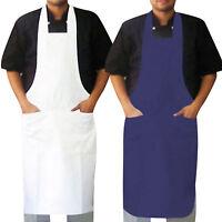 Chef Bib Apron / Chefs Kitchen Apron With 2 Front Pockets NAVY,WHITE