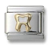 18K Gold Italian Charm Tooth White Enamel 9 mm Stainless Steel Modular Link New