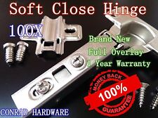 100X Door Hinge Cabinet Cupboard Hinges Soft Close Full Overlay Kitchen Wardrobe
