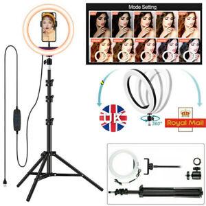 """10""""IN LED Ring Light Dimmable Lighting Kit+Tripod Stand Shutter Selfie Lamp Live"""