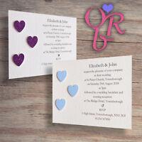 10 Handmade Personalised Wedding Invitations / Evening Invites with Envelopes