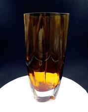 "POLISH ART GLASS AMBER AND CLEAR HEAVY 11 3/4"" TRI CORNER VASE"
