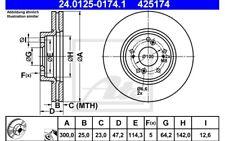 ATE Juego de 2 discos freno Antes 300mm ventilado para HONDA ACCORD